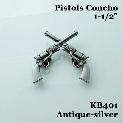 "【KB401】1-1/2"" Cowboy Decor Crossed 1861 Colt Revolver Pistols Antique-Silver"