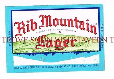 Unused 1960s Rhinelander Rib Mountain 12oz Beer Label Tavern Trove Wisconsin
