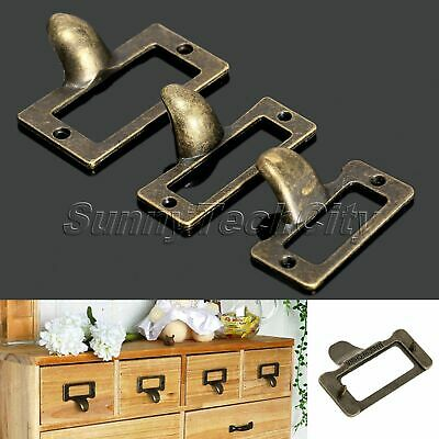 6Pcs Antique Brass Drawer Label Name Card Holder Cabinet Frame Pull Handle Deco