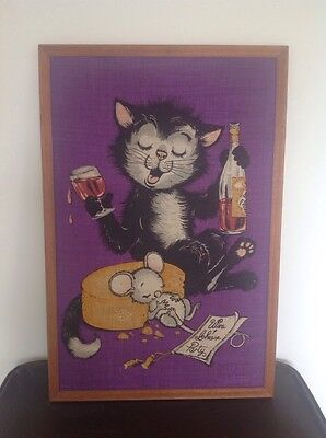 Vintage, Retro, Kitsch Framed 1950's/60's Dunmoy Kitsch Cat & Mouse -