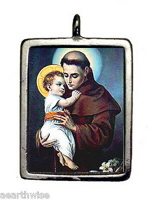 ST. ANTHONY & CROSS PENDANT - Wicca Pagan Witch Goth SANTERIA SAINT ANTHONY
