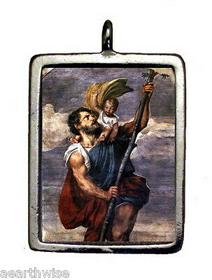 ST. CHRISTOPHER & CROSS PENDANT Wicca Pagan Witch Goth SANTERIA SAINT