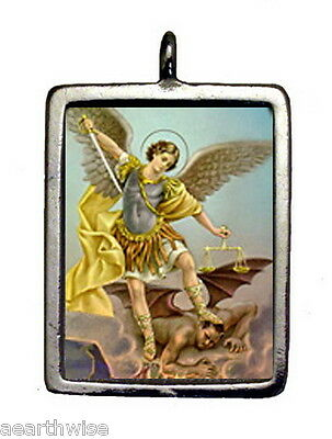 ST. MICHAEL & CROSS PENDANT Wicca Pagan Witch Goth Angel ARCHANGEL MICHAEL