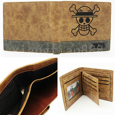 Men Anime One Piece Logo Skull Wallet Purse Bag Holder Layer PU Button Gifts