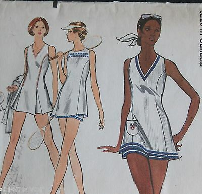 Vogue 1970's Very Easy Sewing Pattern 8257 Tennis Dress And Shorts Size 14