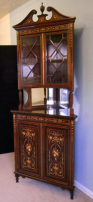 Antique Edwardian Rosewood Inlaid Marquetry Corner Display Cabinet