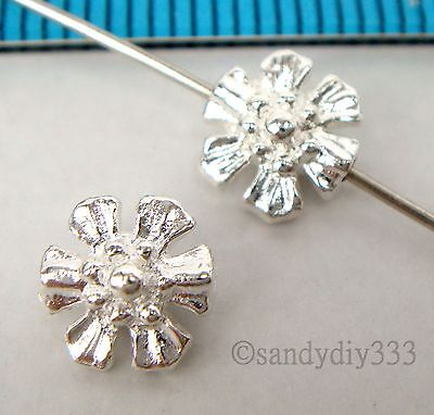 2x STERLING SILVER BRIGHT FLOWER SPACER BEADS 7mm #1720