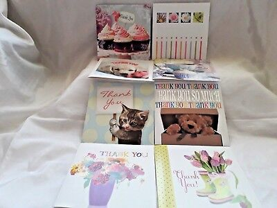 Pack Of 10 Assorted Thank You Cards With Envelopes(Teddy's/cupcakes/flowers Etc)