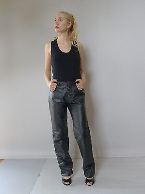 vintage retro true 80s 8 S black leather jeans pants excellent