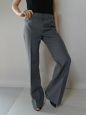 Vintage retro true 70s unused 8 10 S grey flares pants as new tags