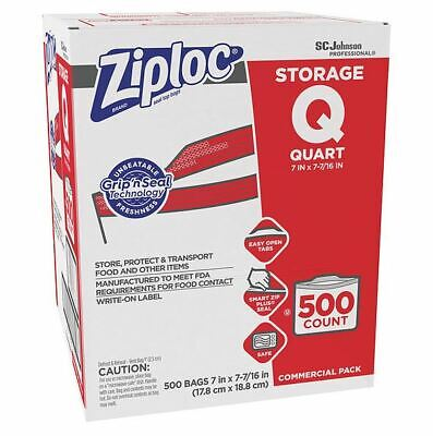 2 Cases - Ziploc Plastic Quart, Double Zip, Labeled Storage Bags (500 per Case)
