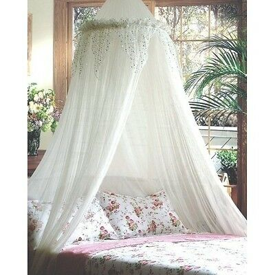 White Bed Canopy Princess Bedding Silver Sequined Valance Mosquito Netting Mesh