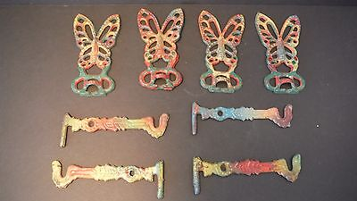 Vintage~Cast Iron~Butterfly Swinging Hooks~Rainbow~Plant Hanger~Matching~Jewelry