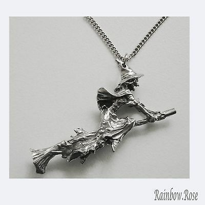 Pewter Necklace on Chain #336 Witch on Broom 3D - 53mm long - chain 45cm long