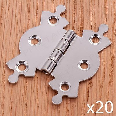 "20 x POLISHED CHROME BUTTERFLY BUTT HINGE 50mm/2"" Ornate Cupboard/Cabinet Door"
