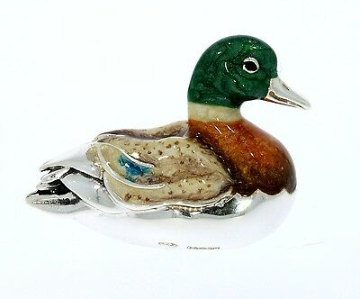 Sterling Silver & Enamel Small Sitting Duck by Saturno
