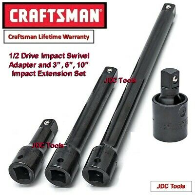 "Craftsman 4 pc 1/2"" Drive Impact Universal w 3, 6, 10 inch Extensions"