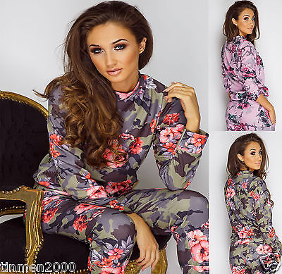 New Ladies Womens Camouflage Floral Print Loungewear Tracksuit Set Joggers Pants