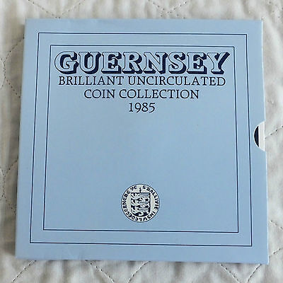 GUERNSEY 1985 ROYAL MINT 7 COIN BRILLIANT UNCIRCULATED SET -  sealed