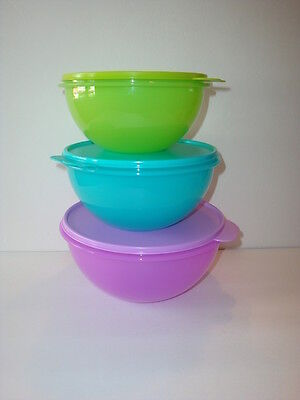 Tupperware Wonderlier Mixing Bowls 3 pc Set Purple Pink Blue New