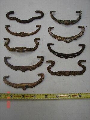 Lot # 26- 9 Antique Cast Brass Open Scroll Buffet Dresser Cabinet Drawer Pulls