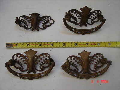 Lot # 11- 4 Antique Cast Brass Open Scroll Buffet Dresser Cabinet Drawer Pulls