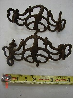 Lot # 19- 2 Antique Cast Brass Open Scroll Buffet Dresser Cabinet Drawer Pulls