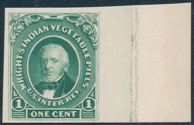 #Rs274P4 Wright's Indian Vegetable Pills 1¢ Plate Proof On Card Green Bs8934