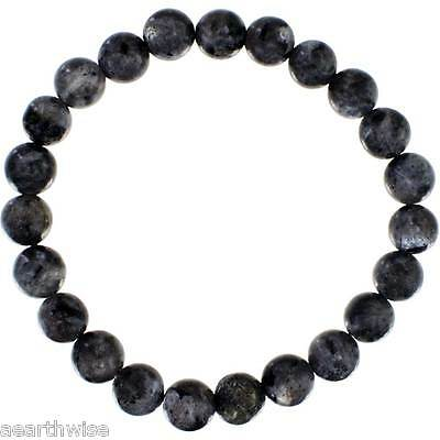 BLACK LABRADORITE TUMBLED 8mm ROUND BEADS BRACELET Wicca Witch  Pagan Goth