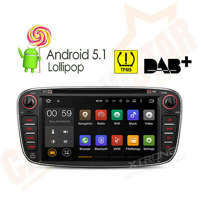 "Black 4-Core Android 5.1 7"" Car DVD GPS Player for Ford Focus Mondeo S-Max Radio"