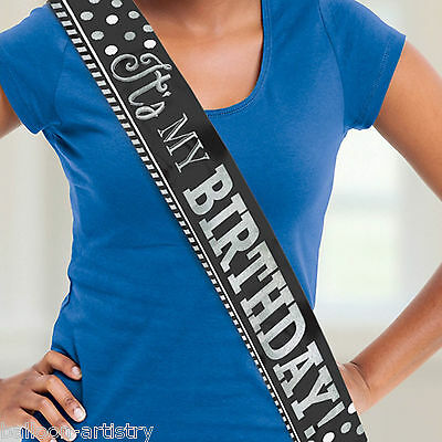 1.5m Classic Black & White It's My Birthday Party Fancy Dress Party Sash