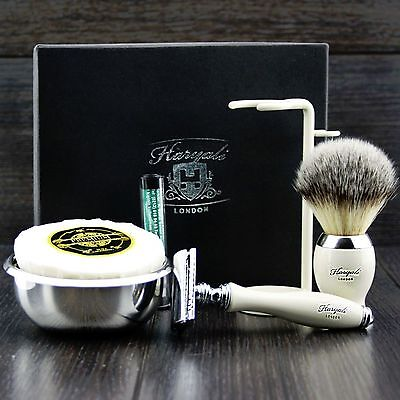 5 Piece Complete Shaving Set DE Safety & Synthetic Brush Soap Bowl Grooming kit