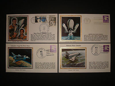 1981 Us Space Shuttle Columbia Colorano Silk Event Covers Stamps United States