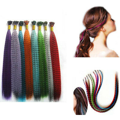 New Grizzly Rainbow Synthetic Fiber Feather Hair Extensions 40cm 10pcs