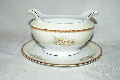 Vintage Fine China Meito Japan Gravy Boat Hand Painted