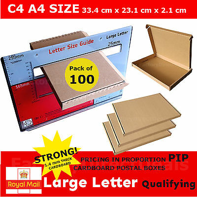 100 x  PIP POSTAL BOXES SIZE C4 A4 ROYAL MAIL LARGE LETTER STRONG CARDBOARD BOX