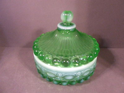 Vintage green  Opalescent Glass Eyewinker Pattern Covered Candy Dish - Mosser