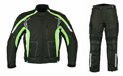 Black Green Motorbike Motorcycle Textile Jacket Trouser Suit CE Armours Unisex