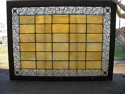 Very Large and Beautiful one-of-a-kind Leaded Glass Window - Slag w/ Greek Key