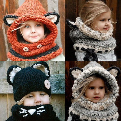Kids Girls Boys Baby Winter Warm Fox Beanie Hat Cap Hooded Scarf Earflap Knitted