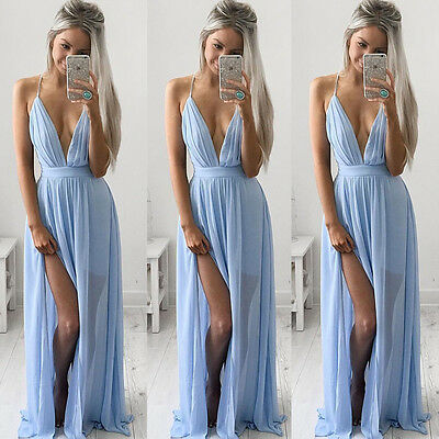 Womens Ladies Boho Sexy Summer Beach Evening Party Long Maxi Chiffon Dress 6-16
