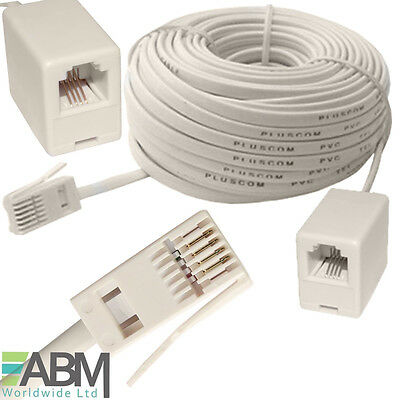 15m RJ11 UK Male To RJ11 US Female ADSL Broadband Telephone Extension Cable Lead