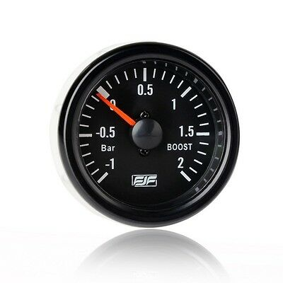 "Brand New Universal 2"" 52mm Black Tinted -1~2 bar boost Car Smoke Gauges Meters"