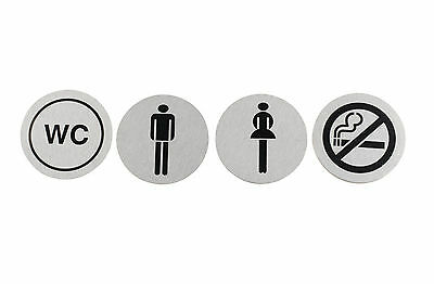 7cm Brushed Stainless Steel Toilets No Smoking Door Signs Pub Shop Business