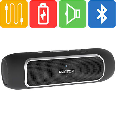Bluetooth Speaker Android iPhone iPod 24 Watts 24hr Battery AZATOM STORM BLACK
