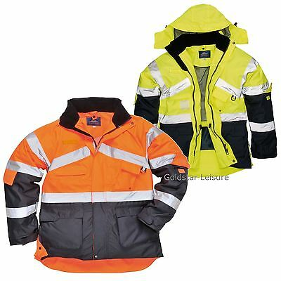 Portwest HI VIS Breathable Safety Jacket Coat Radio Loop D Ring Workwear S760