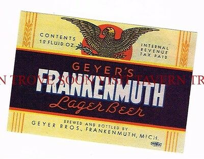Unused 1940s IRTP Frankenmuth Beer 12oz Label Tavern Trove Michigan