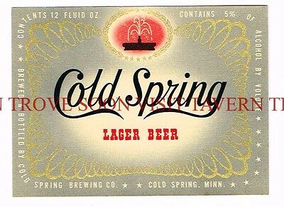 Unused 1950s Cold Spring Lager Beer 5% 12oz Label Tavern Trove Minnesota