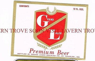 Unused 1960s Grand Lager Beer St Charles 12oz Label Tavern Trove Missouri