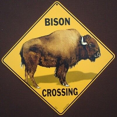 BISON CROSSING SIGN aluminum decor  painting novelty home wildlife signs art